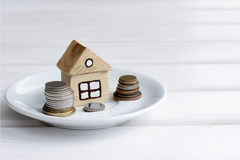 Payment for a house with a plot Royalty Free Stock Photo