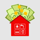 Payment of housing and public utility services. Red house icon, symbols of public utilities are in cells of window. Dollars and coins above. Payment of housing royalty free illustration