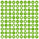 100 payment icons hexagon green. 100 payment icons set in green hexagon isolated vector illustration Stock Photos