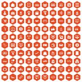 100 payment icons hexagon orange. 100 payment icons set in orange hexagon isolated vector illustration Stock Photography