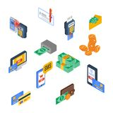 Payment Icons Isometric. Money financial commerce 3d elements set isolated vector illustration Royalty Free Stock Photography