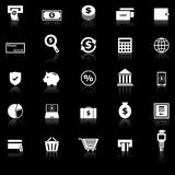 Payment icons with reflect on black background Stock Photo