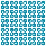 100 payment icons sapphirine violet. 100 payment icons set in sapphirine hexagon isolated vector illustration Royalty Free Stock Image