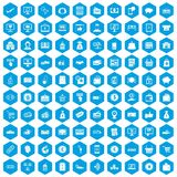 100 payment icons set blue. 100 payment icons set in blue hexagon isolated vector illustration vector illustration