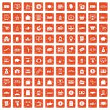 100 payment icons set grunge orange. 100 payment icons set in grunge style orange color isolated on white background vector illustration Stock Photos