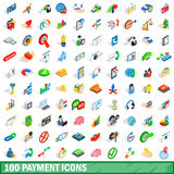 100 payment icons set, isometric 3d style. 100 payment icons set in isometric 3d style for any design vector illustration Royalty Free Stock Photo