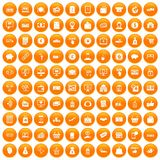 100 payment icons set orange. 100 payment icons set in orange circle isolated on white vector illustration Royalty Free Stock Photo