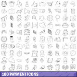 100 payment icons set, outline style. 100 payment icons set in outline style for any design vector illustration Vector Illustration