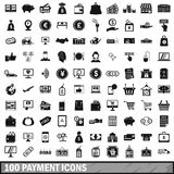 100 payment icons set in simple style Royalty Free Stock Image