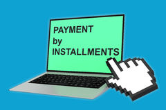 Payment by Installments concept. 3D illustration of PAYMENT by INSTALLMENTS script with pointing hand icon pointing at the laptop screen. Business concept Stock Photos