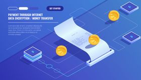 Payment through internet, data encryption money transfer, pay electronic bill, paper receipt of buy isometric vector. Technology stock illustration