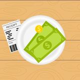 Payment of an invoice in a restaurant. Money lies on a white plate next to the bill for payment. Restaurant receipt. Flat design,  illustration Stock Photos