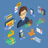Payment Isometric Set. With banking cash money financial 3d icons vector illustration Royalty Free Stock Images