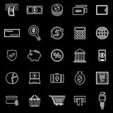 Payment line icons on black background Stock Photos