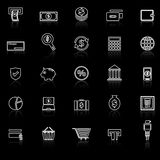 Payment line icons with reflect on black background Royalty Free Stock Photography