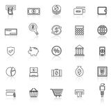 Payment line icons with reflect on white background Royalty Free Stock Photography