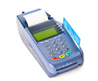 Payment machine. Blue payment machine. Isolated on white background Royalty Free Stock Photography