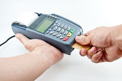 Payment machine. Close up Payment machine on during using Credit card from customer in shopping mall Stock Photography
