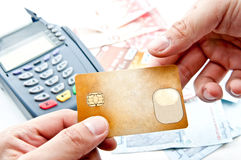 Payment machine and Credit card. In supermarket Royalty Free Stock Photo