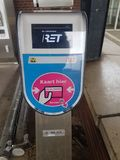 Payment machine in the Netherlands on station platform for public transportation like here for the Rotterdam RET Metro.. stock image
