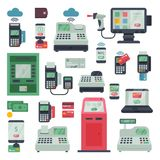 Payment machine vector pos banking terminal and atm bank system for credit card paying through machining cardreader or. Cash register in store illustration royalty free illustration