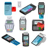 Payment machine vector pos banking terminal for credit card paying through machining cardreader or cash register in. Store illustration set isolated on white vector illustration