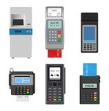 Payment machine vector pos banking terminal for credit card to pay atm bank system machining for paying cardreader in. Store illustration isometric set isolated royalty free illustration