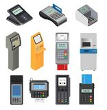 Payment machine vector pos banking terminal for credit card to pay atm bank system machining for paying cardreader in. Store illustration isometric set vector illustration