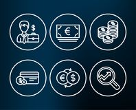 Payment method, Money exchange and Euro currency icons. Coins, Businessman case and Analytics signs. Set of Payment method, Money exchange and Euro currency Stock Image