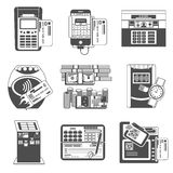 Payment methods black icons set Stock Images