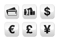 Payment methods buttons set - credit card, by cash Royalty Free Stock Photography