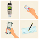 Payment methods. Funny illustration of payment methods Stock Photos