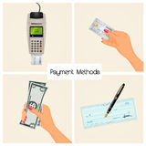 Payment methods. Funny illustration of payment methods Stock Photo