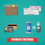 Payment Methods Icons. Bank Card, wallet with Money cash Coin, bank check, nfc style payment between smartphone and pos terminal. Payment Methods icons. payment Royalty Free Stock Photos