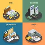 Payment Methods Isometric Icons Concept. Payment methods 4 isometric icons square with cash credit bank cards and online transactions isolated vector Stock Photo