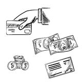 Payment methods sketch icons set. Dollar bills and coins, bank credit card in hand and bank cheque. Sketch icons for payment methods and banking transaction Royalty Free Stock Image