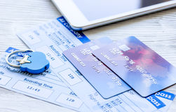 Payment online concept with cards and tickets on light table Stock Photos