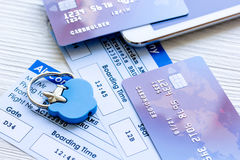 Payment online concept with cards and tickets on light table Stock Images