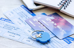 Payment online concept with cards and tickets on light table Stock Photography