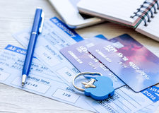 Payment online concept with cards and tickets on light table Stock Photo