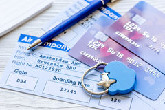 Payment online concept with cards and tickets on light table Royalty Free Stock Photos