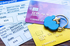 Payment online concept with cards and tickets on wooden table Stock Photos