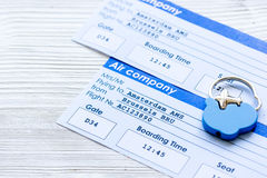 Payment online concept with flight tickets on light table. Payment online concept flight tickets on light wooden table background Stock Photography