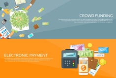 Payment Options Phone Money Credit Web Banner Set. Payment Options Phone Money Credit Carsh Wallet Hands Business People Group Crowd Funding Web Banner Set Flat Royalty Free Stock Photo