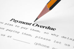 Payment overdue Stock Photo