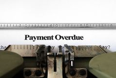 Payment overdue form Stock Image