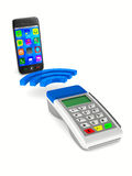 Payment by phone on white background Stock Photo