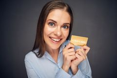 Plastic credit card. Funny business woman. Stock Photos