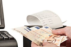 Payment for purchases in the store by cash. Stock Photography
