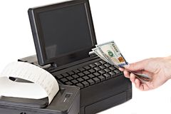 Payment for purchases in the store by cash. Stock Image